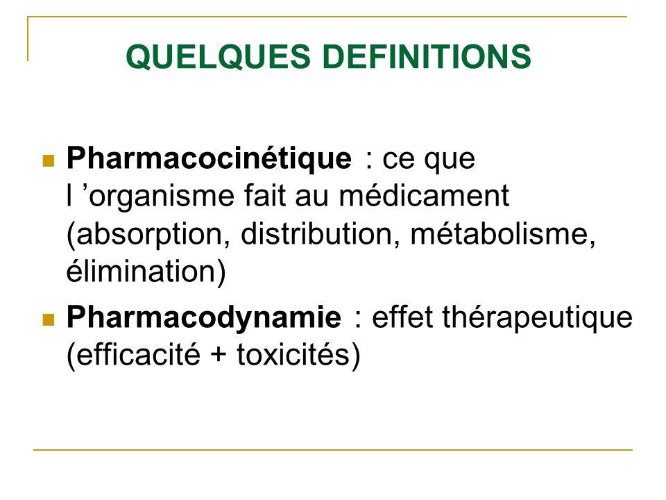 QUELQUES DEFINITIONS Pharmacocinétique : ce que l organisme fait au médicament (absorption, distribution, métabolisme, élimination) Pharmacodynamie :
