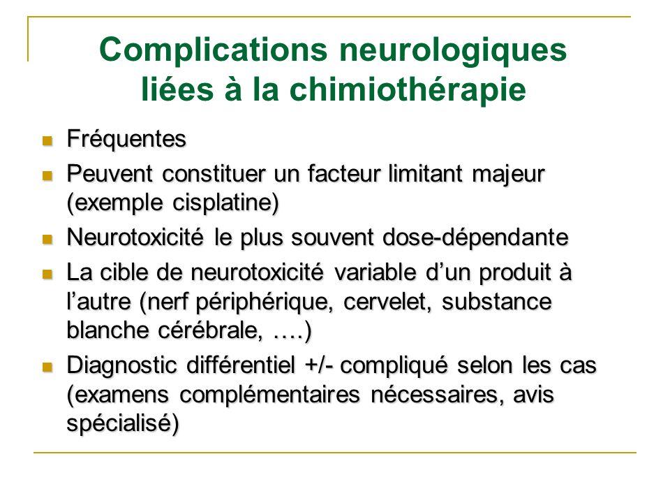 Complications neurologiques liées à la chimiothérapie Fréquentes Fréquentes Peuvent constituer un facteur limitant majeur (exemple cisplatine) Peuvent