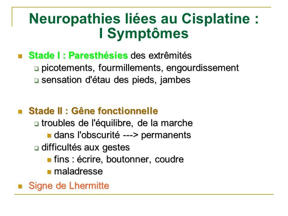 Neuropathies liées au Cisplatine : I Symptômes Stade I : Paresthésies des extrêmités Stade I : Paresthésies des extrêmités picotements, fourmillements