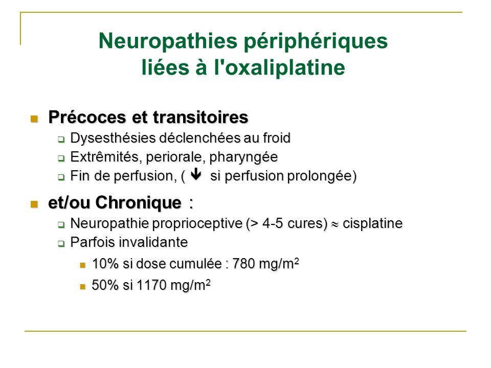 Neuropathies périphériques liées à l'oxaliplatine Précoces et transitoires Précoces et transitoires Dysesthésies déclenchées au froid Dysesthésies déc