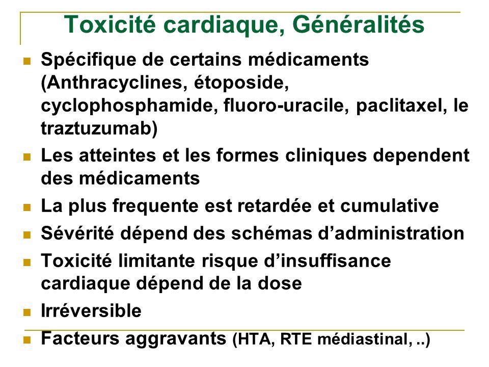 Toxicité cardiaque, Généralités Spécifique de certains médicaments (Anthracyclines, étoposide, cyclophosphamide, fluoro-uracile, paclitaxel, le traztu