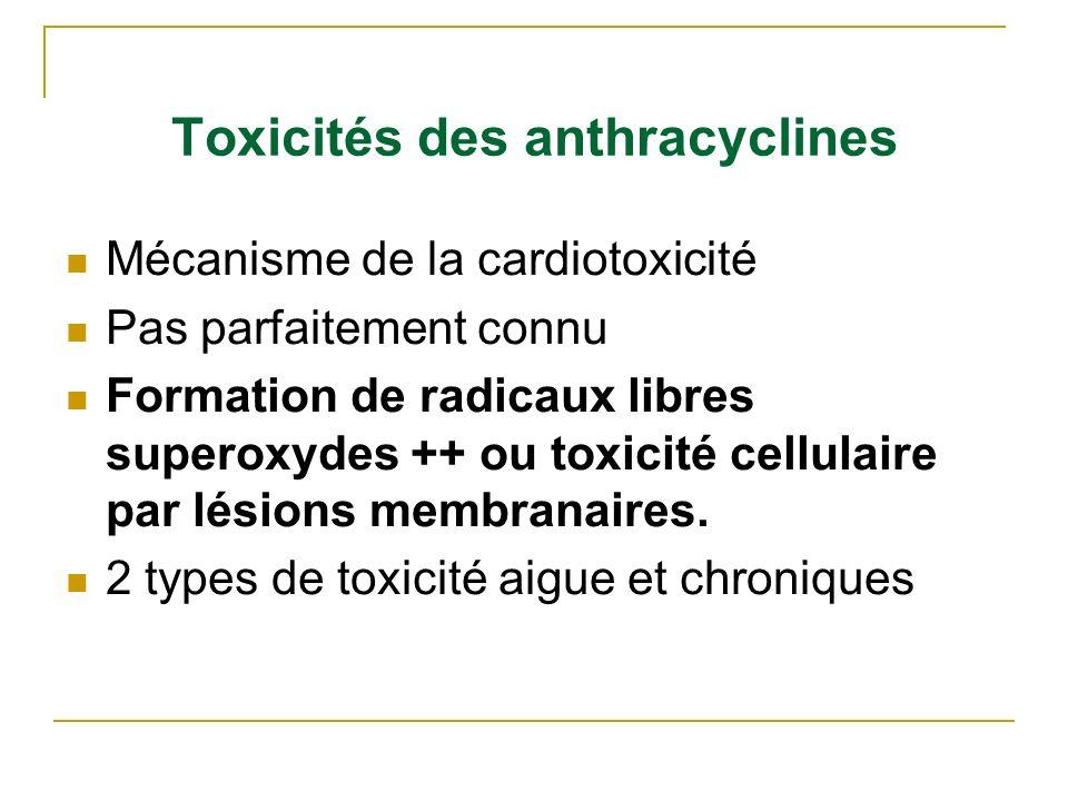 Toxicités des anthracyclines Mécanisme de la cardiotoxicité Pas parfaitement connu Formation de radicaux libres superoxydes ++ ou toxicité cellulaire