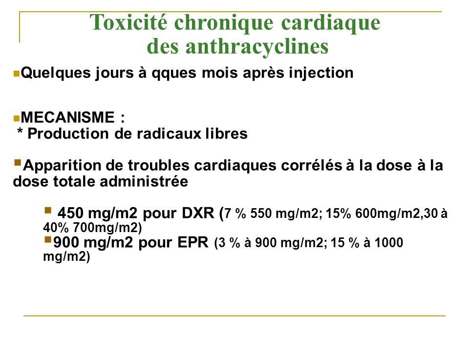 Toxicité chronique cardiaque des anthracyclines Quelques jours à qques mois après injection MECANISME : * Production de radicaux libres Apparition de
