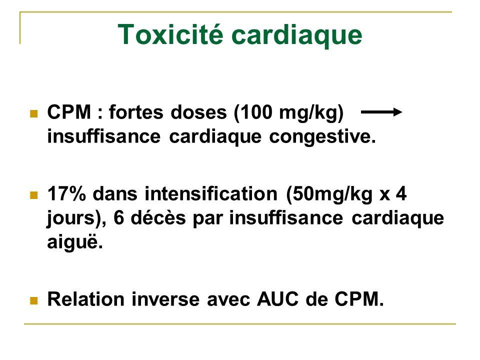 Toxicité cardiaque CPM : fortes doses (100 mg/kg) insuffisance cardiaque congestive. 17% dans intensification (50mg/kg x 4 jours), 6 décès par insuffi