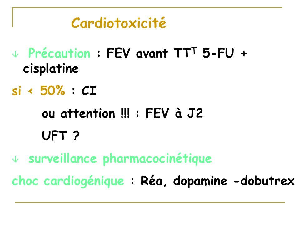 Cardiotoxicité â Précaution : FEV avant TT T 5-FU + cisplatine si < 50% : CI ou attention !!! : FEV à J2 UFT ? â surveillance pharmacocinétique choc c