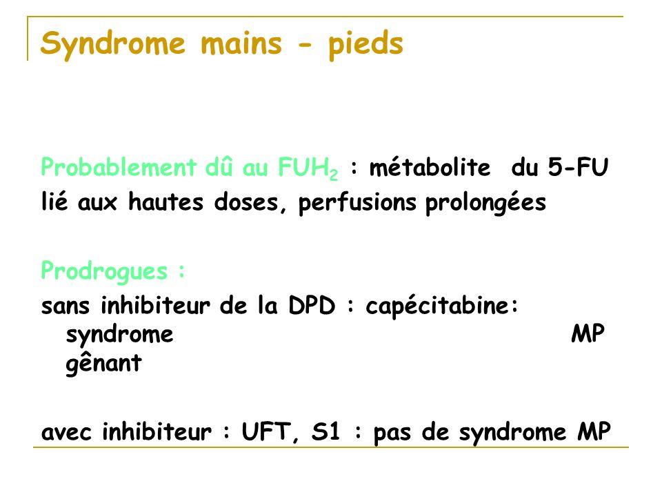 Syndrome mains - pieds Probablement dû au FUH 2 : métabolite du 5-FU lié aux hautes doses, perfusions prolongées Prodrogues : sans inhibiteur de la DP