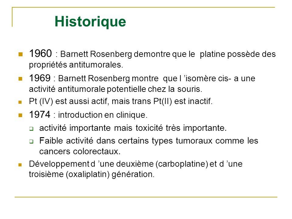 Historique 1960 : Barnett Rosenberg demontre que le platine possède des propriétés antitumorales. 1969 : Barnett Rosenberg montre que l isomère cis- a