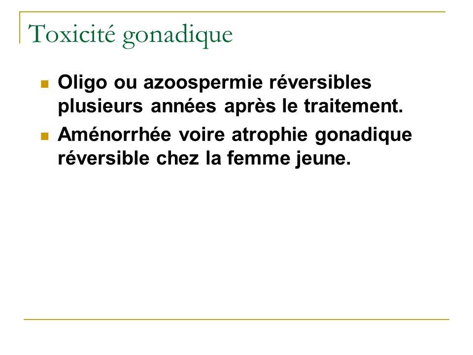 Toxicité gonadique Oligo ou azoospermie réversibles plusieurs années après le traitement. Aménorrhée voire atrophie gonadique réversible chez la femme