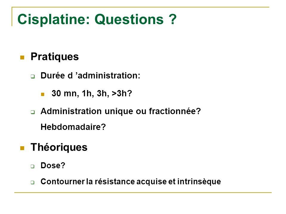 Cisplatine: Questions ? Pratiques Durée d administration: 30 mn, 1h, 3h, >3h? Administration unique ou fractionnée? Hebdomadaire? Théoriques Dose? Con
