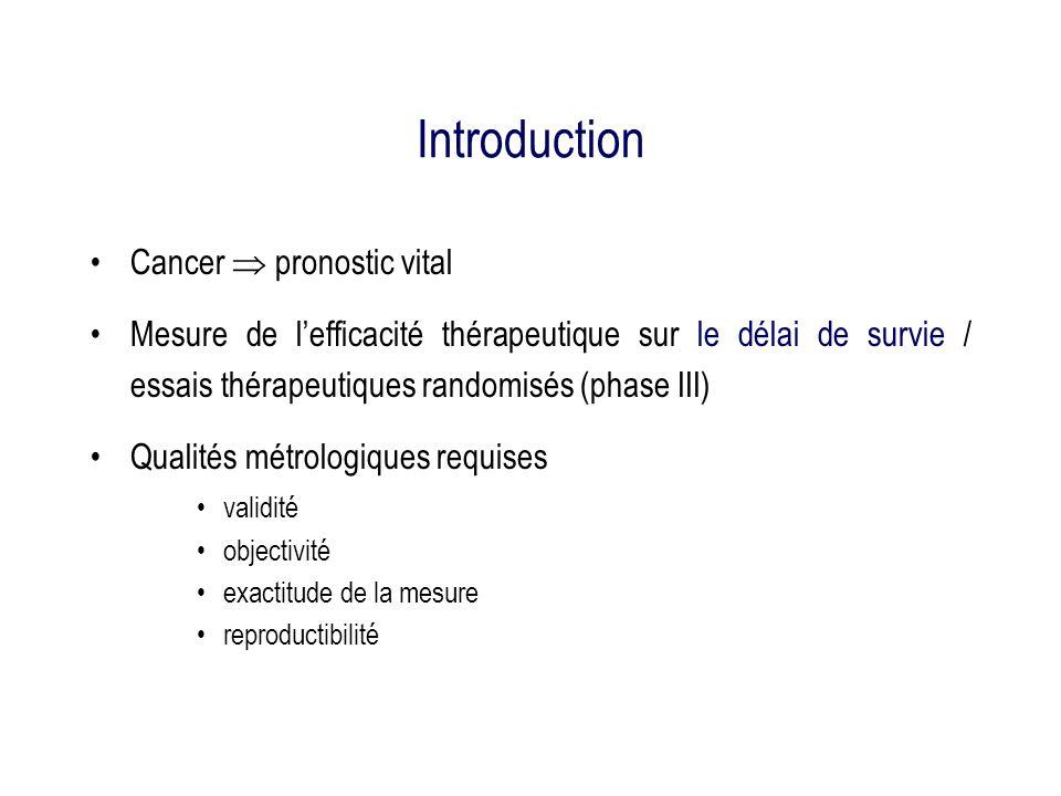 Introduction Cancer pronostic vital Mesure de lefficacité thérapeutique sur le délai de survie / essais thérapeutiques randomisés (phase III) Qualités métrologiques requises validité objectivité exactitude de la mesure reproductibilité
