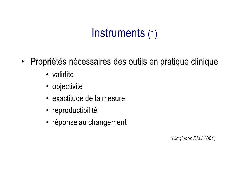 Instruments (1) Propriétés nécessaires des outils en pratique clinique validité objectivité exactitude de la mesure reproductibilité réponse au changement (Higginson BMJ 2001)