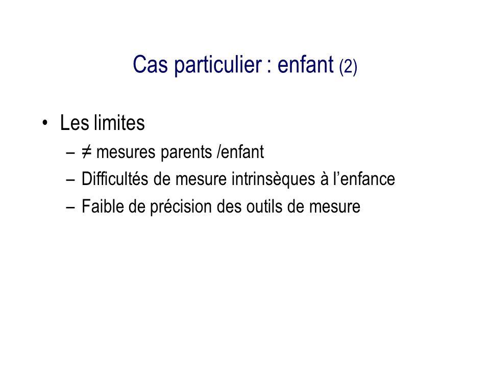 Cas particulier : enfant (2) Les limites – mesures parents /enfant –Difficultés de mesure intrinsèques à lenfance –Faible de précision des outils de mesure