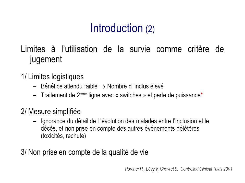 Introduction (3) temps P(survie) Traitement A Traitement B Survie (traitement A) ~ survie (traitement B) traitement A ~ traitement B Quelles différences ?