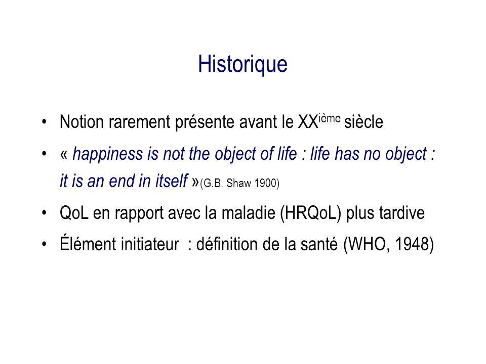 Historique (2) Premier instrument : Index de performance de Karnofsky [0-10] (1947) 2ième génération dinstruments : 70-80 Puis développement dindicateurs (+ de dimensions…) Et doutils de mesure