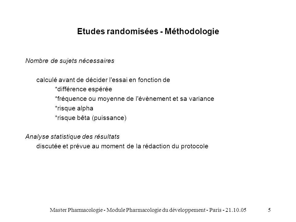 Master Pharmacologie - Module Pharmacologie du développement - Paris - 21.10.055 Etudes randomisées - Méthodologie Nombre de sujets nécessaires calcul