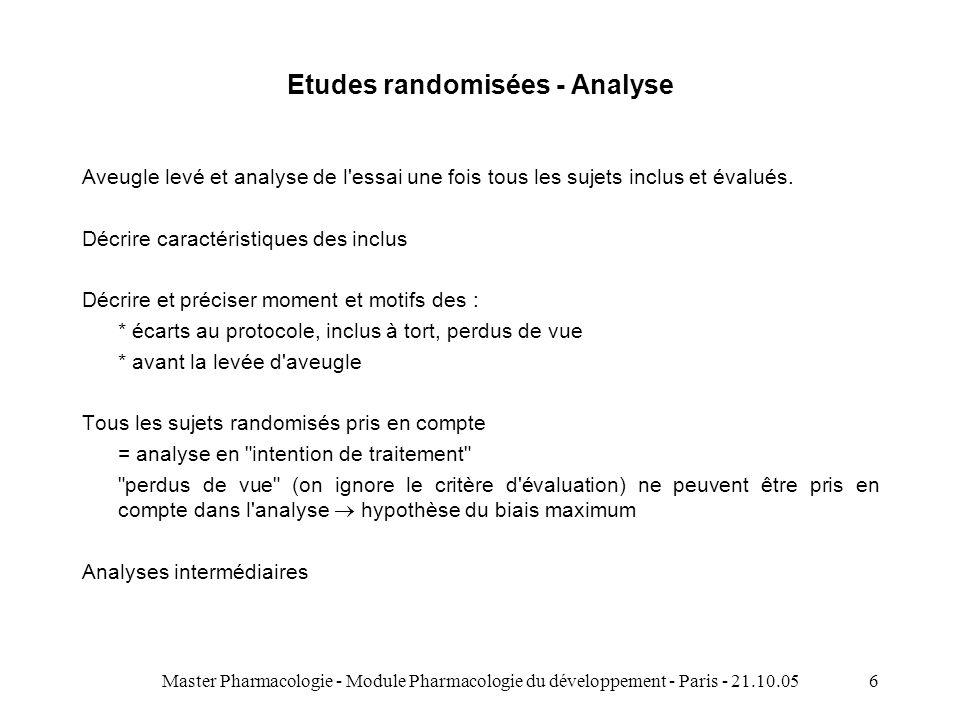 Master Pharmacologie - Module Pharmacologie du développement - Paris - 21.10.056 Etudes randomisées - Analyse Aveugle levé et analyse de l essai une fois tous les sujets inclus et évalués.