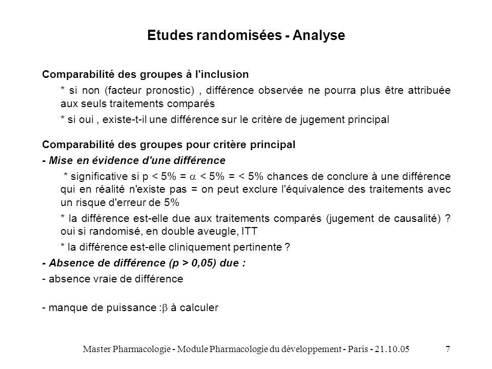 Master Pharmacologie - Module Pharmacologie du développement - Paris - 21.10.057 Etudes randomisées - Analyse Comparabilité des groupes à l inclusion * si non (facteur pronostic), différence observée ne pourra plus être attribuée aux seuls traitements comparés * si oui, existe-t-il une différence sur le critère de jugement principal Comparabilité des groupes pour critère principal - Mise en évidence d une différence * significative si p < 5% = < 5% = < 5% chances de conclure à une différence qui en réalité n existe pas = on peut exclure l équivalence des traitements avec un risque d erreur de 5% * la différence est-elle due aux traitements comparés (jugement de causalité) .
