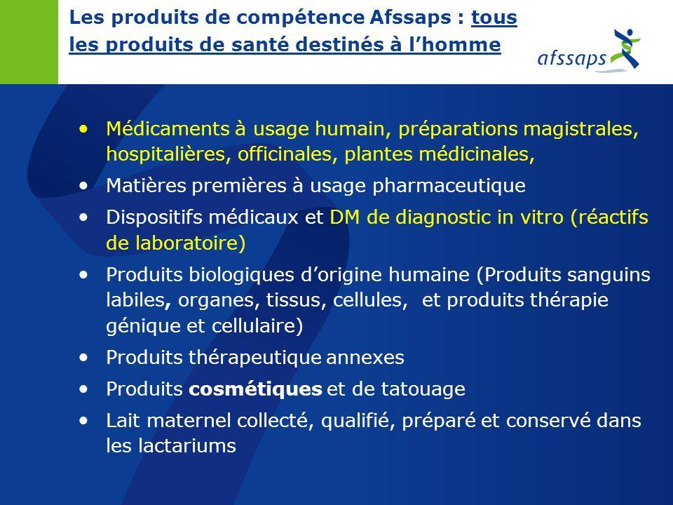 Les missions de l Afssaps Évaluation Évaluation médico-technique des produits Contrôle Contrôle des produits et leur publicité Inspection Inspection d