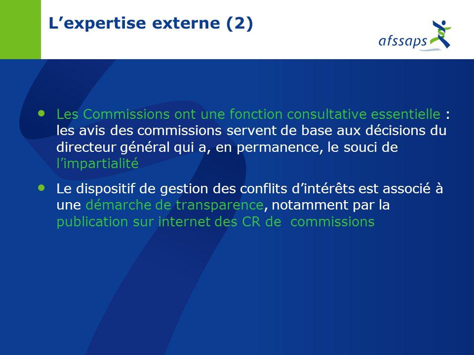 Lexpertise externe Lexpertise externe est constituée par les membres permanents des commissions (30 membres / commission, 11 commissions, 350 experts