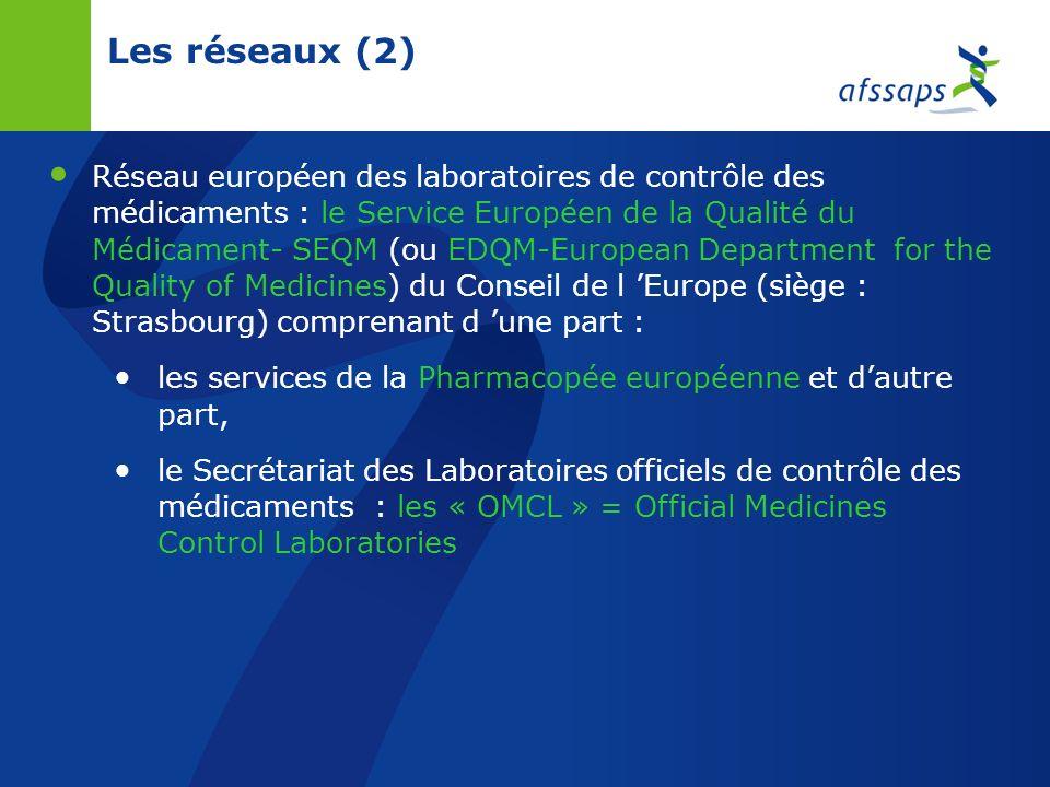 Les réseaux Réseau des Centres régionaux de pharmacovigilance (CRPV) + réseau européen EUDRAvigilance Réseau des Centres d évaluation et dinformation