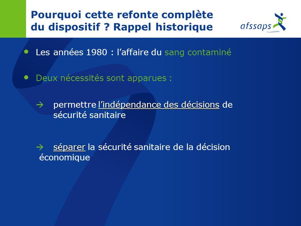 Evolution de lagence au sein du dispositif de sécurité sanitaire 1993 : loi relative à la sécurité en matière de transfusion sanguine et de médicament