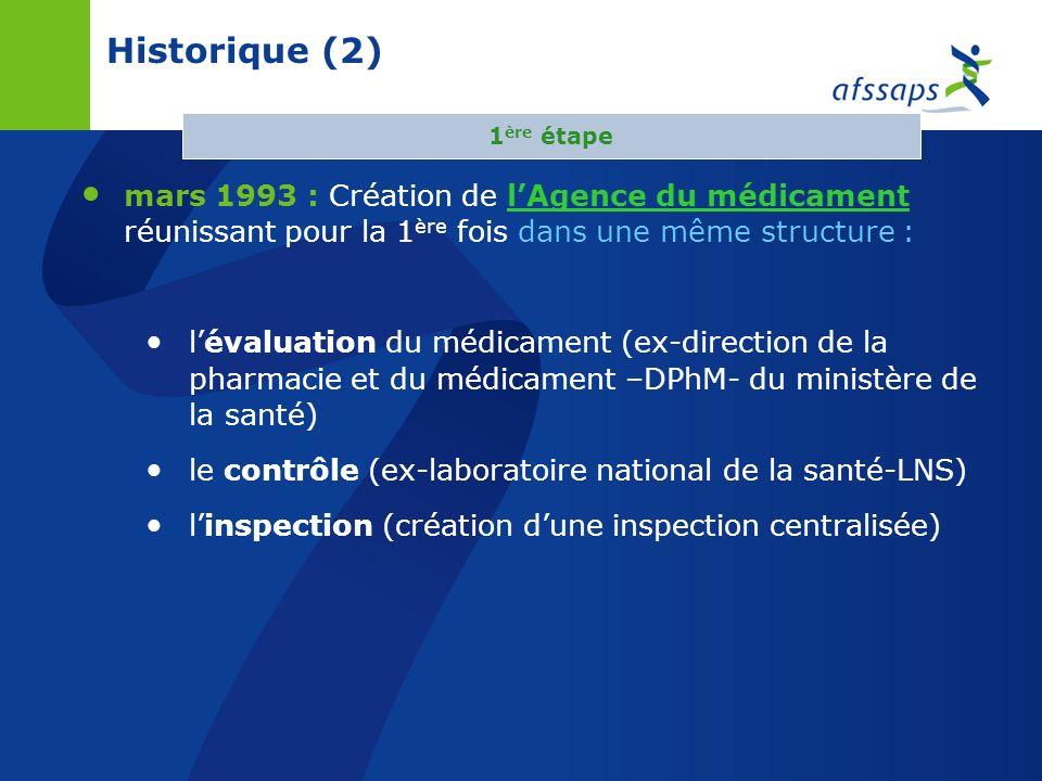 Historique (2) mars 1993 : Création de lAgence du médicament réunissant pour la 1 ère fois dans une même structure : lévaluation du médicament (ex-direction de la pharmacie et du médicament –DPhM- du ministère de la santé) le contrôle (ex-laboratoire national de la santé-LNS) linspection (création dune inspection centralisée) 1 ère étape