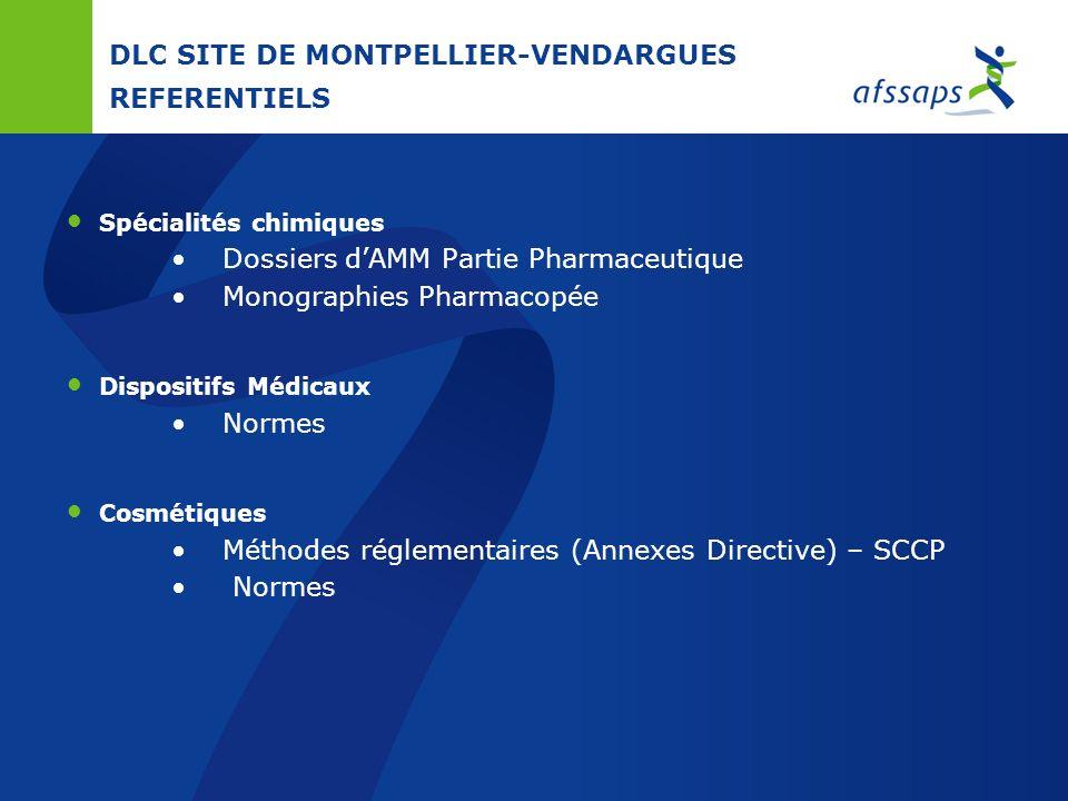 DLC SITE DE MONTPELLIER-VENDARGUES MISSIONS Contrôle de marché Médicaments chimiques Matières premières – Principes actifs Cosmétiques Dispositifs méd