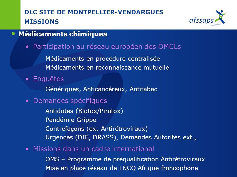 DLC SITE DE MONTPELLIER-VENDARGUES REFERENTIELS Spécialités chimiques Dossiers dAMM Partie Pharmaceutique Monographies Pharmacopée Dispositifs Médicau