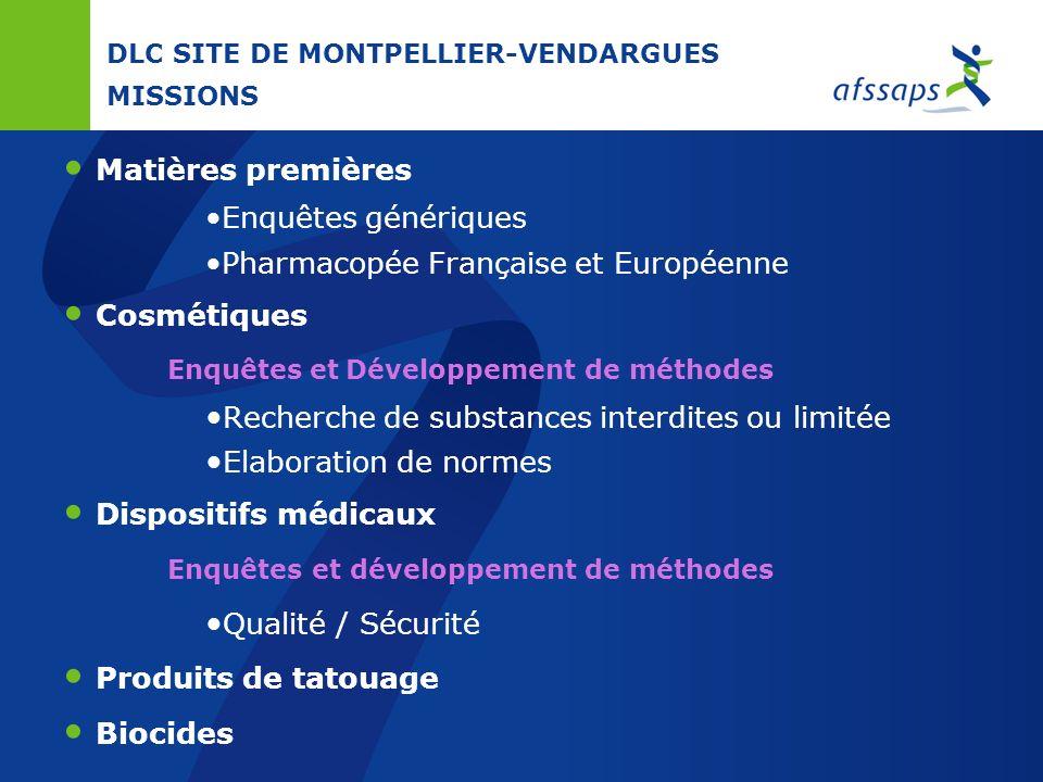 DLC SITE DE MONTPELLIER-VENDARGUES MISSIONS Médicaments chimiques Participation au réseau européen des OMCLs Médicaments en procédure centralisée Médi