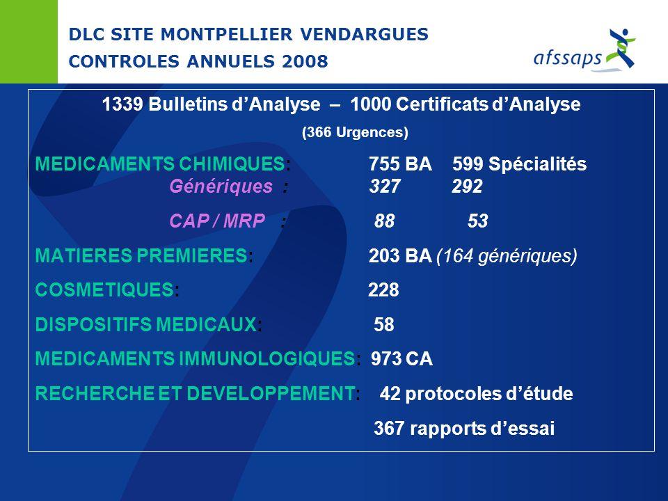 DLC SITE DE MONTPELLIER-VENDARGUES MISSIONS Matières premières Enquêtes génériques Pharmacopée Française et Européenne Cosmétiques Enquêtes et Dévelop