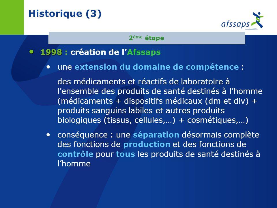 Historique (3) 1998 1998 : création de lAfssaps une extension du domaine de compétence : des médicaments et réactifs de laboratoire à lensemble des produits de santé destinés à lhomme (médicaments + dispositifs médicaux (dm et div) + produits sanguins labiles et autres produits biologiques (tissus, cellules,…) + cosmétiques,…) conséquence : une séparation désormais complète des fonctions de production et des fonctions de contrôle pour tous les produits de santé destinés à lhomme 2 ème étape