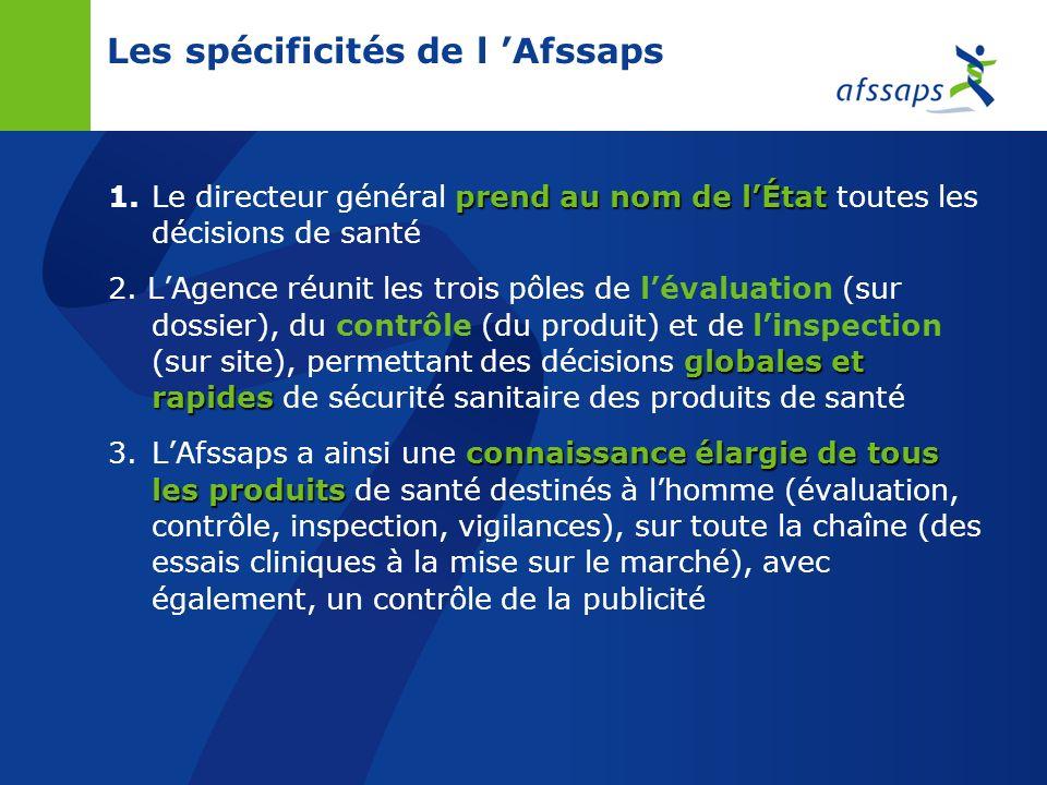 Les spécificités de l Afssaps prend au nom de lÉtat 1.Le directeur général prend au nom de lÉtat toutes les décisions de santé globales et rapides 2.