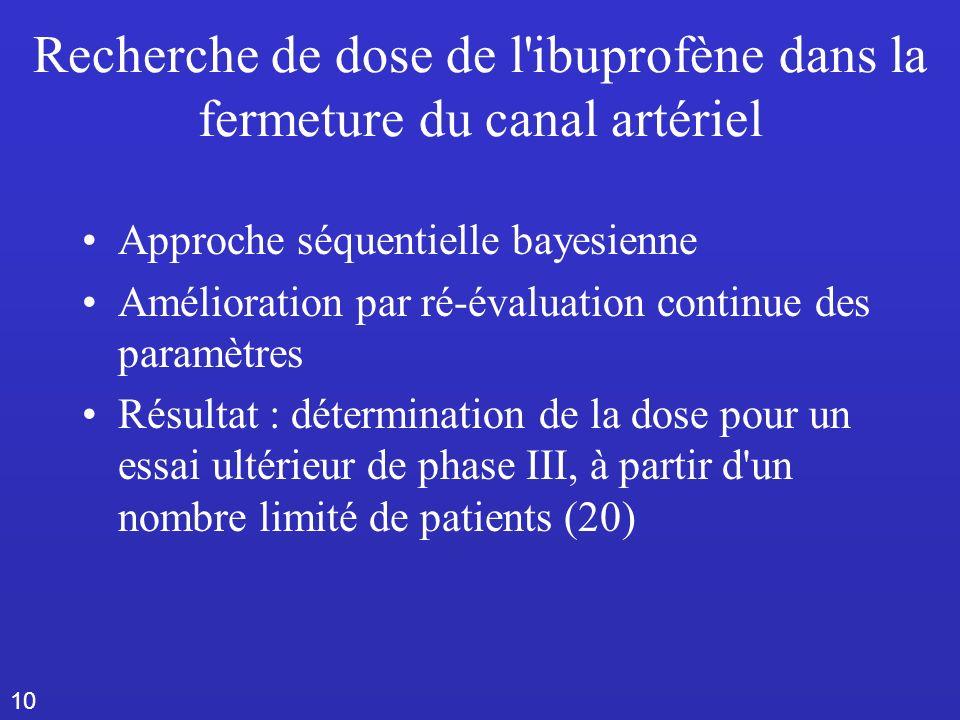 10 Recherche de dose de l ibuprofène dans la fermeture du canal artériel Approche séquentielle bayesienne Amélioration par ré-évaluation continue des paramètres Résultat : détermination de la dose pour un essai ultérieur de phase III, à partir d un nombre limité de patients (20)