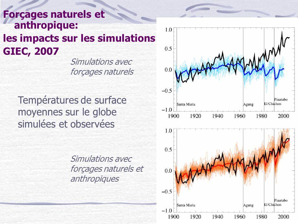 Forçages naturels et anthropique: les impacts sur les simulations GIEC, 2007 Simulations avec forçages naturels Simulations avec forçages naturels et