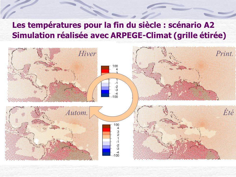 Les températures pour la fin du siècle : scénario A2 Simulation réalisée avec ARPEGE-Climat (grille étirée) HiverPrint. Autom.Été