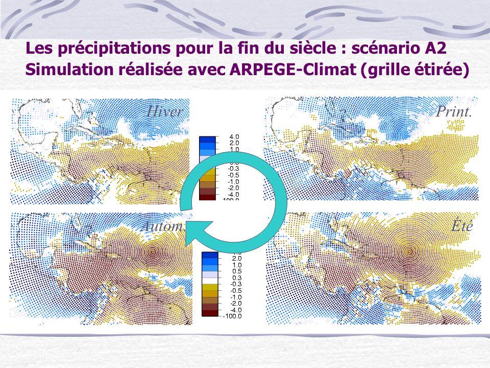 Les précipitations pour la fin du siècle : scénario A2 Simulation réalisée avec ARPEGE-Climat (grille étirée) HiverPrint. ÉtéAutom.
