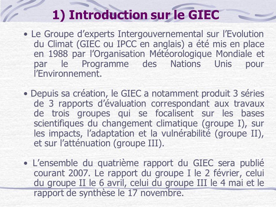 1) Introduction sur le GIEC Le Groupe dexperts Intergouvernemental sur lEvolution du Climat (GIEC ou IPCC en anglais) a été mis en place en 1988 par l