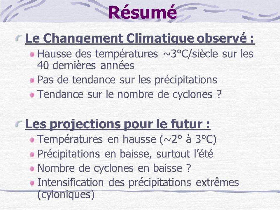 Résumé Le Changement Climatique observé : Hausse des températures ~3°C/siècle sur les 40 dernières années Pas de tendance sur les précipitations Tenda
