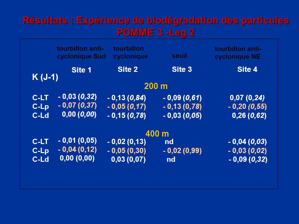 Résultats : Expérience de biodégradation des particules POMME 3 -Leg 2 tourbillon cyclonique tourbillon anti- cyclonique NE Site 2Site 3Site 4 K (J-1)