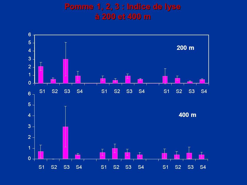 Pomme 1, 2, 3 : Indice de lyse à 200 et 400 m