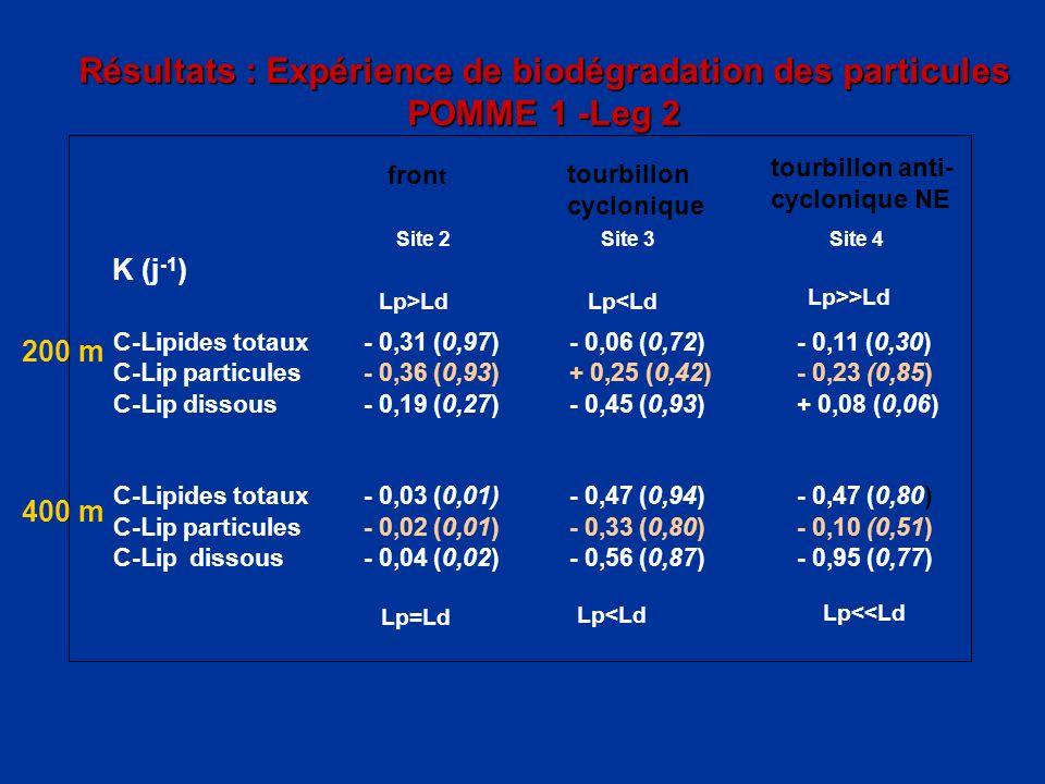 Résultats : Expérience de biodégradation des particules POMME 1 -Leg 2 fron t Site 2Site 3Site 4 K (j -1 ) 200 m C-Lipides totaux- 0,31 (0,97)- 0,06 (
