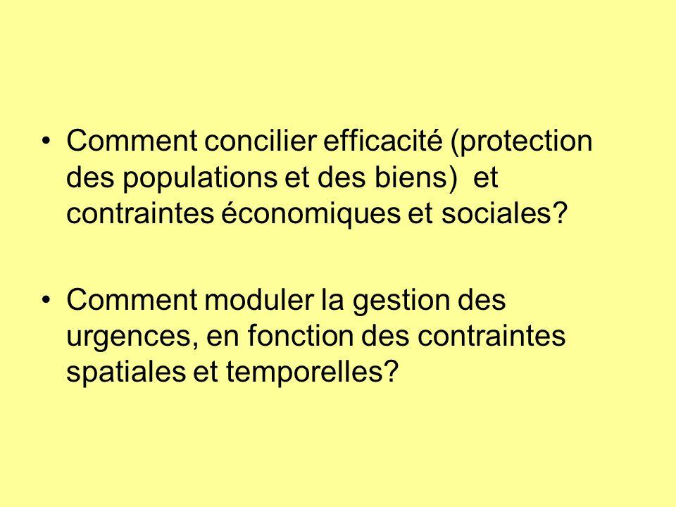 Comment concilier efficacité (protection des populations et des biens) et contraintes économiques et sociales? Comment moduler la gestion des urgences