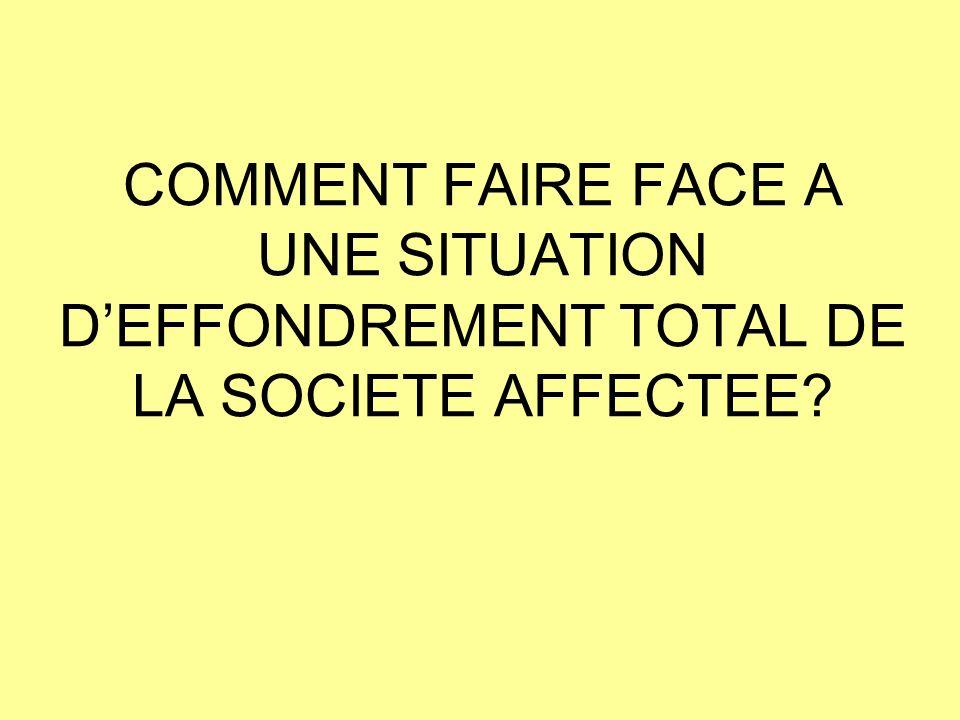 COMMENT FAIRE FACE A UNE SITUATION DEFFONDREMENT TOTAL DE LA SOCIETE AFFECTEE?