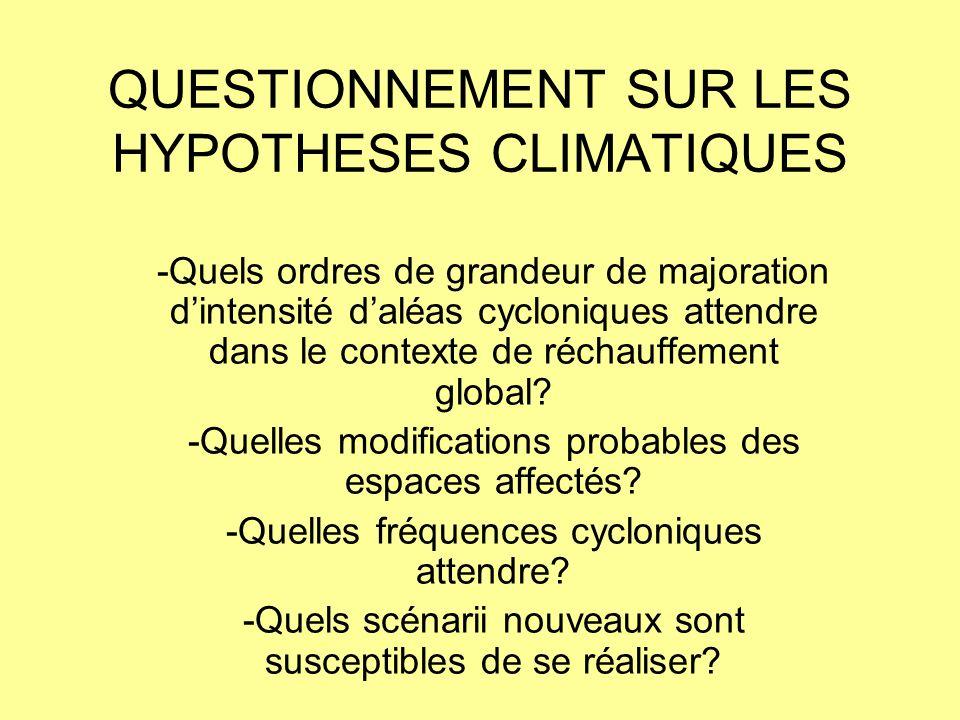 QUESTIONNEMENT SUR LES HYPOTHESES CLIMATIQUES -Quels ordres de grandeur de majoration dintensité daléas cycloniques attendre dans le contexte de récha