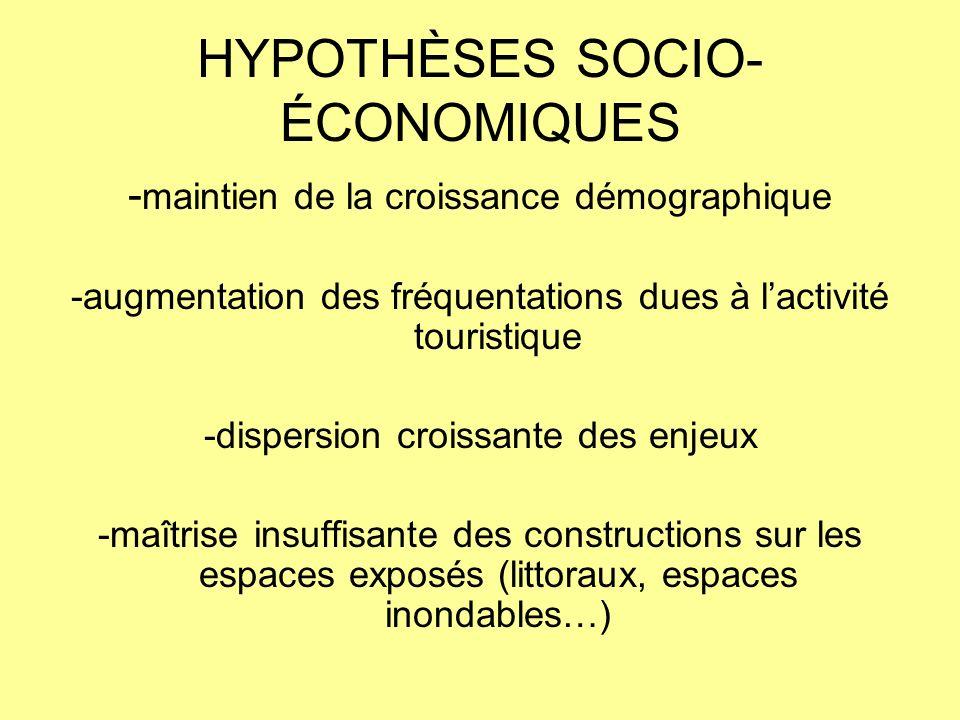 HYPOTHÈSES SOCIO- ÉCONOMIQUES - maintien de la croissance démographique -augmentation des fréquentations dues à lactivité touristique -dispersion croi