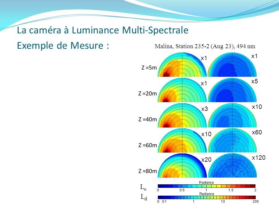 Exemple de Mesure : LdLd LuLu Malina, Station 235-2 (Aug 23), 494 nm x1 x3 x10 x20 x1 x5 x10 x60 x120 La caméra à Luminance Multi-Spectrale