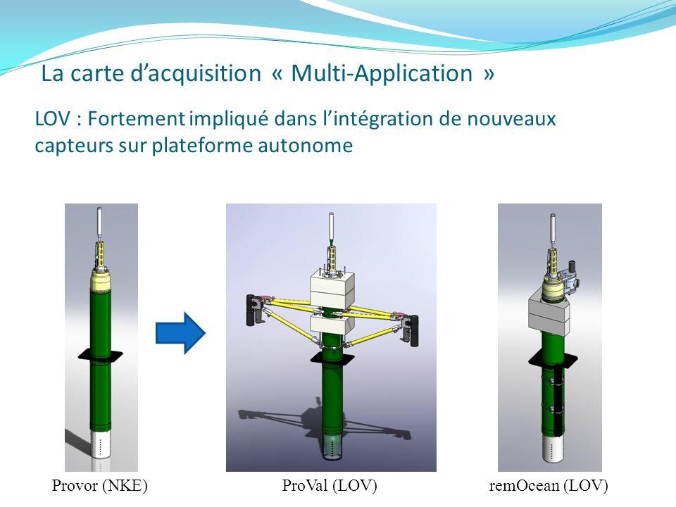 La carte dacquisition « Multi-Application » Provor (NKE)ProVal (LOV) remOcean (LOV) LOV : Fortement impliqué dans lintégration de nouveaux capteurs su