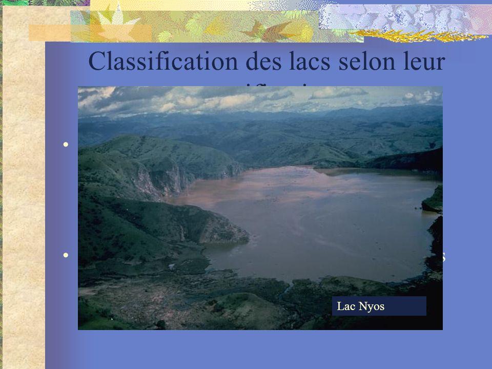 Classification des lacs selon leur stratification holomictique : les eaux se mélangent au moins une fois par an monomictique 1 / ans dimictique : 2 x /an polymictique plusier fois/an méromictique : <les eaux se mélangent moins une fois par an, décennie ou siècle Lac Pavin Lac Nyos, Cameroun, 1 800 morts en 1986 Lac Nyos