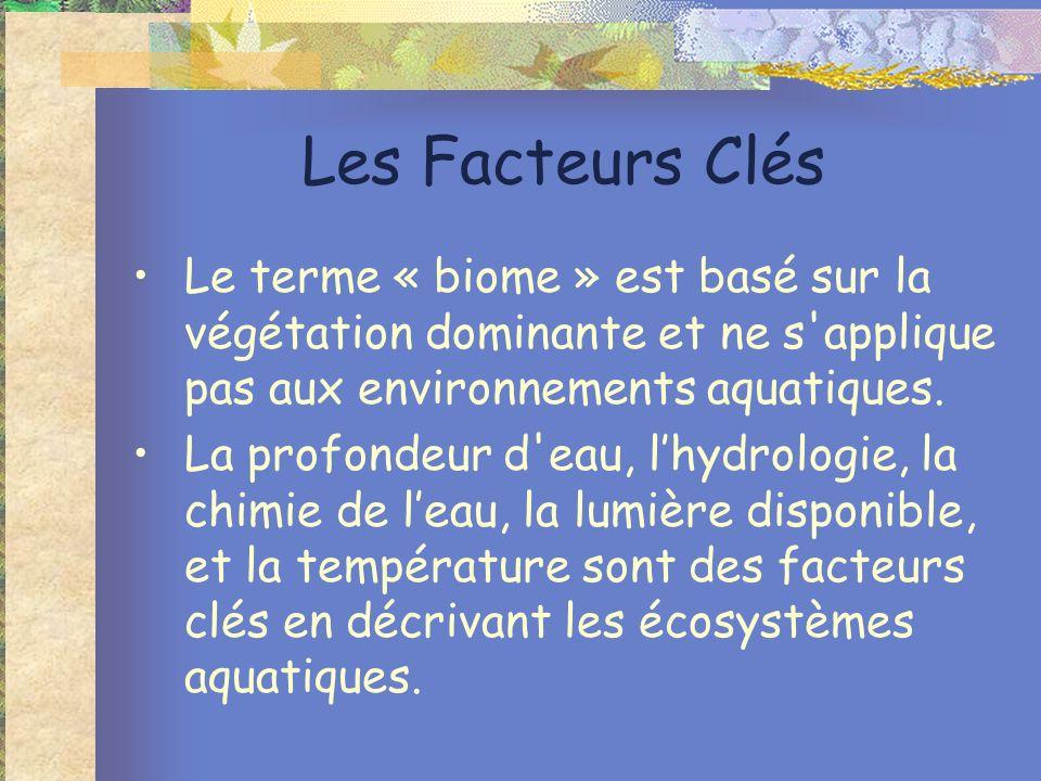 Les Facteurs Clés Le terme « biome » est basé sur la végétation dominante et ne s'applique pas aux environnements aquatiques. La profondeur d'eau, lhy