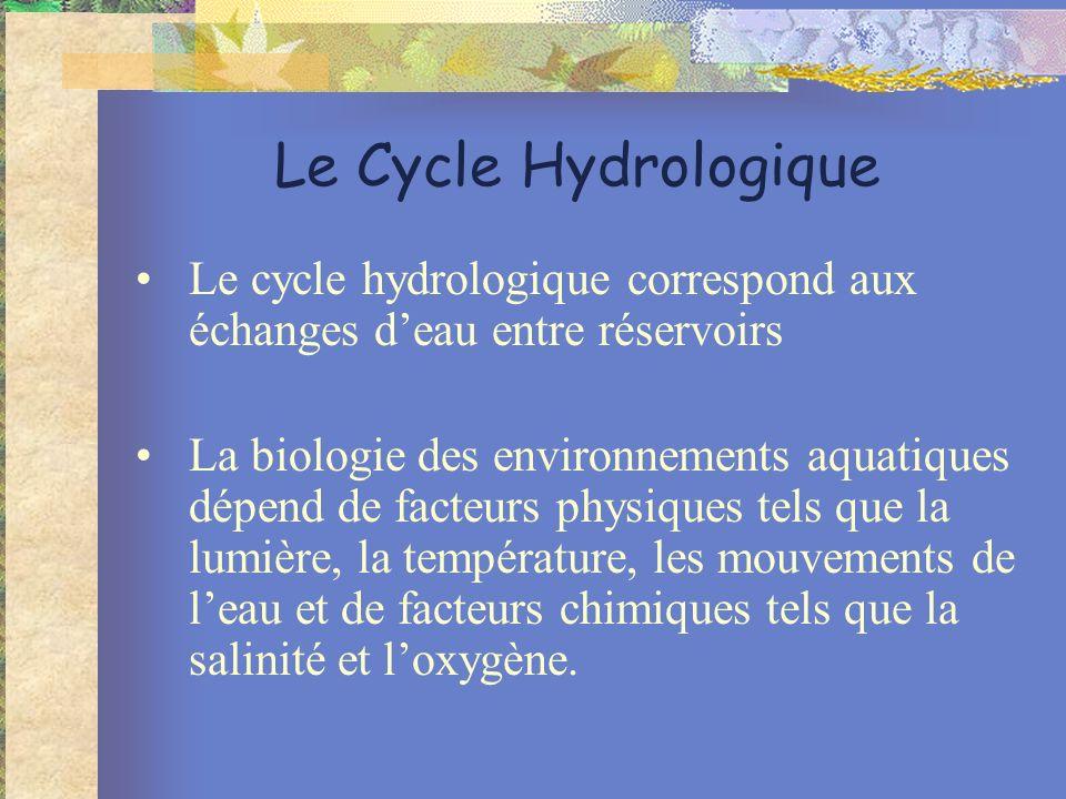 Le Cycle Hydrologique Le cycle hydrologique correspond aux échanges deau entre réservoirs La biologie des environnements aquatiques dépend de facteurs physiques tels que la lumière, la température, les mouvements de leau et de facteurs chimiques tels que la salinité et loxygène.